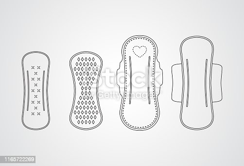 Carved silhouette flat icon, simple vector design. Set of different sanitary napkins. Illustration for feminine hygiene, medicine, menstruation. Symbol of absorbent pad for woman.