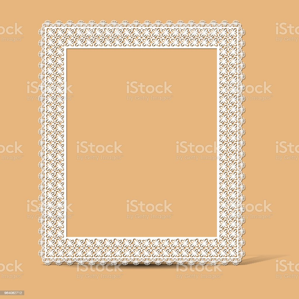 carved vintage frame made of paper photo with shadow - Royalty-free Angle stock vector