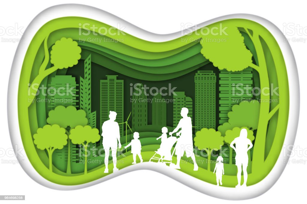 Carving design of city urban and family with green nature as happy family, quality of life, ecology idea, Paper cut art and craft style concept. vector illustration royalty-free carving design of city urban and family with green nature as happy family quality of life ecology idea paper cut art and craft style concept vector illustration stock vector art & more images of abstract
