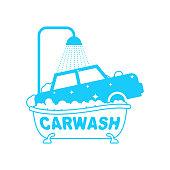 Carwash logo. Car in bath. Auto wash in bathtub