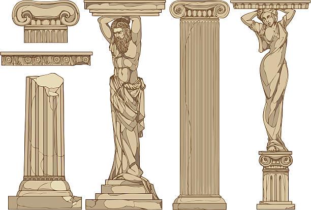 caryatids vector art illustration