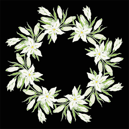 Casa Blanca Oriental Lily. Bouquet of white flowers and green leaves. Collection of festive decor and greeting cards. Vector illustration.