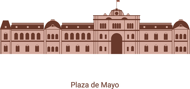 Casa Rosada in Buenos Aires Argentina. View of Plaza de Mayo, a city square and main foundational site. Flat architecture of Argentina landmark travel collection. Vector design illustration