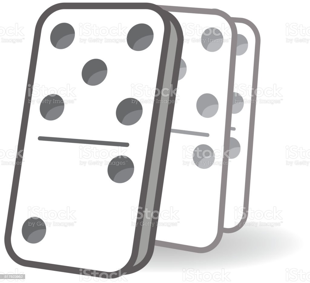 Cascading dominos icon vector art illustration