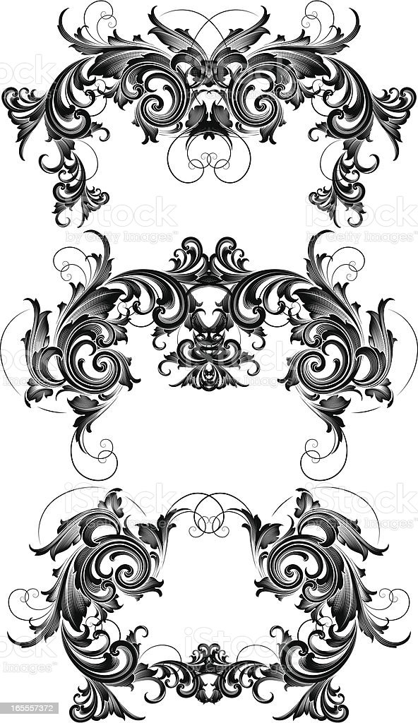 Cascading Scroll Set royalty-free cascading scroll set stock vector art & more images of antique
