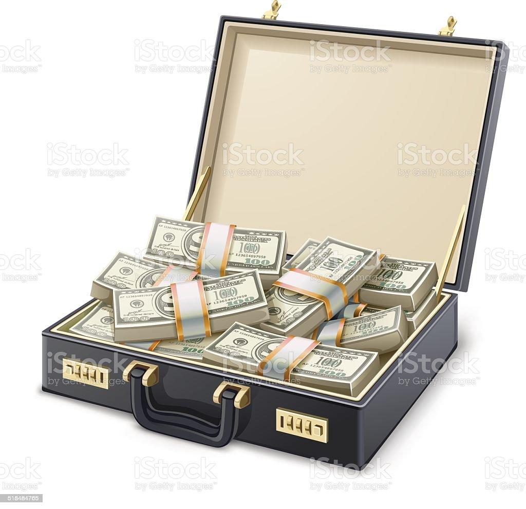 Case full of money vector art illustration