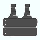 Case of beer solid icon. Two glasses in a box vector illustration isolated on white. Pack of Beer glyph style design, designed for web and app. Eps 10