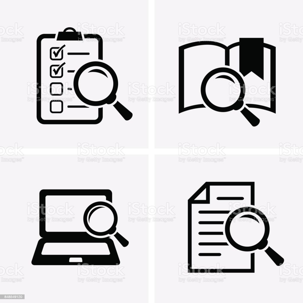 Case Studies Icons set. vector art illustration