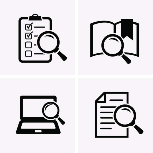 case studies icons set. - research stock illustrations