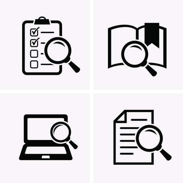 ilustraciones, imágenes clip art, dibujos animados e iconos de stock de conjunto de iconos de estudios de caso. - research