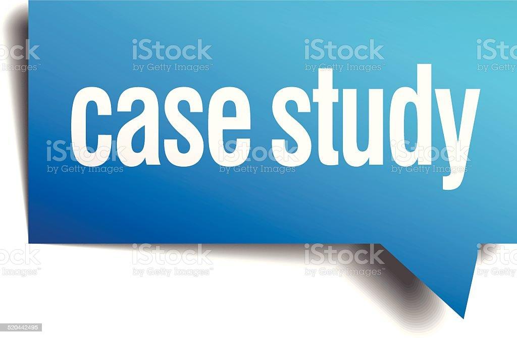 case study blue 3d realistic paper speech bubble vector art illustration