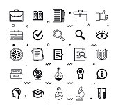 Case study consulting outline style symbols. Line vector icons set for infographics, mobile and web designs.