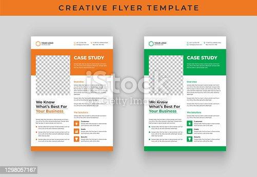 istock Case study flyer template design 1298057167