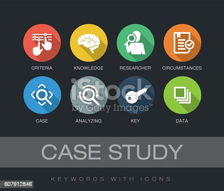 Case Study chart with keywords and icons. Flat design with long shadows