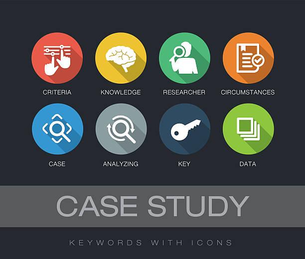illustrations, cliparts, dessins animés et icônes de case study keywords with icons - recherche scientifique