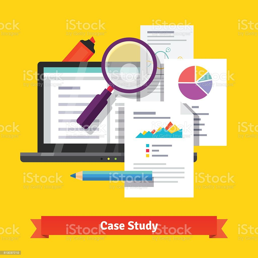 Case study research concept vector art illustration