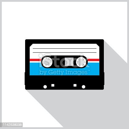 Vector illustration of red,white and blue cassette tape with a shadow on a white background with a gray border.