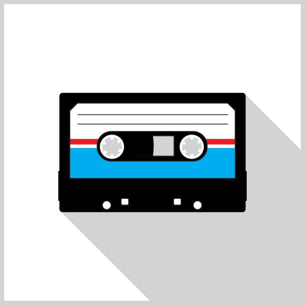 ilustrações, clipart, desenhos animados e ícones de ícone da sombra da fita do casette - fita cassete