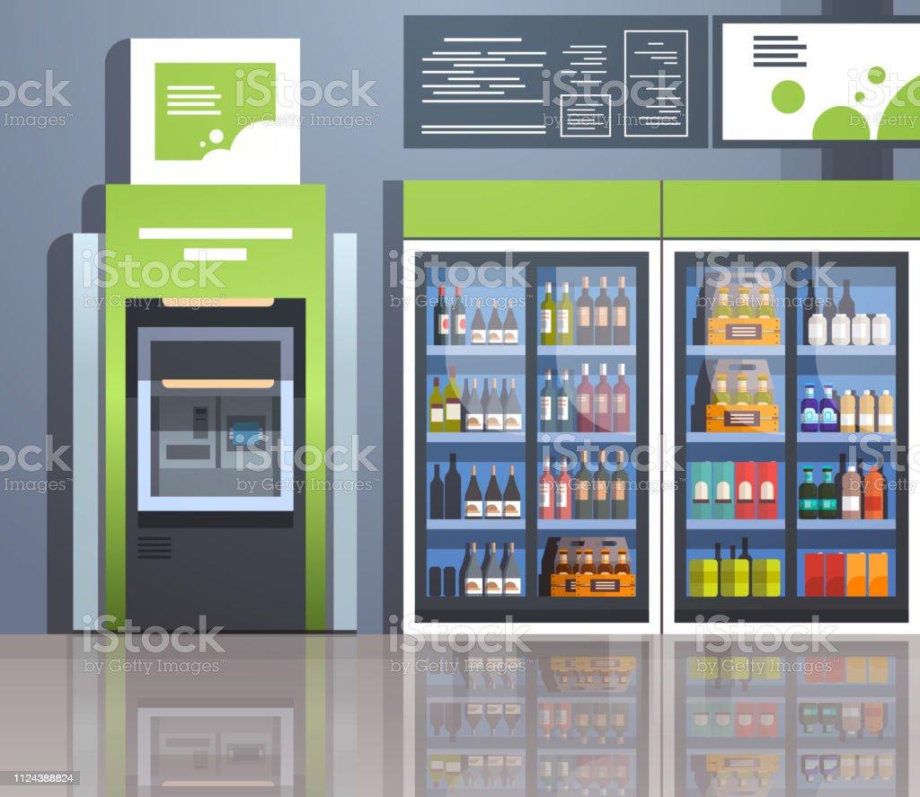 Atm 現金自動預け払い機支払ターミナル飲料冷凍庫ガラス ドア スーパー ...