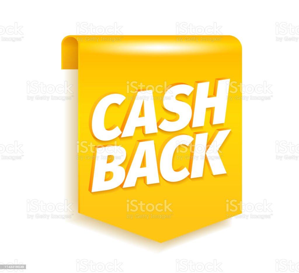 Cash back bookmark flag. Shining gold. Cashback word letters. Icon...