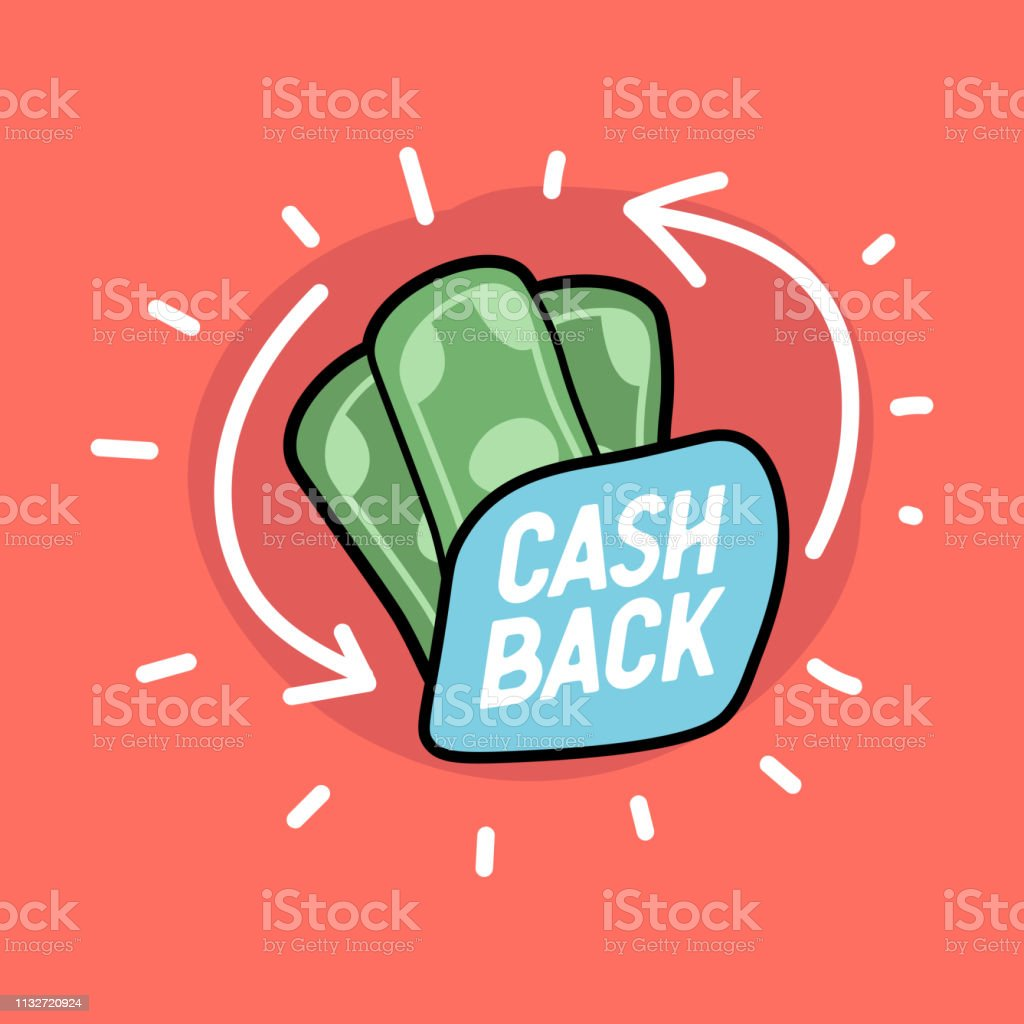 Cash back hand drawn banknotes icon. Cash back or money refund label.