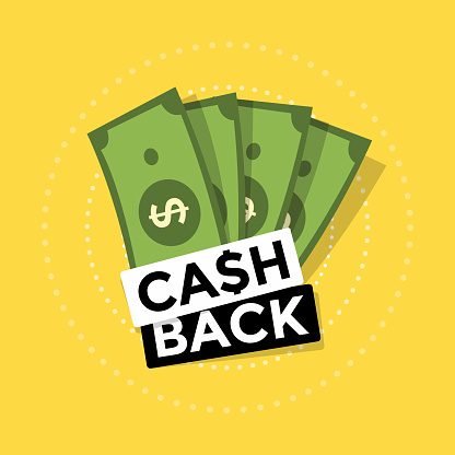 Cash back icon on yellow background. Cash back or money refund label.