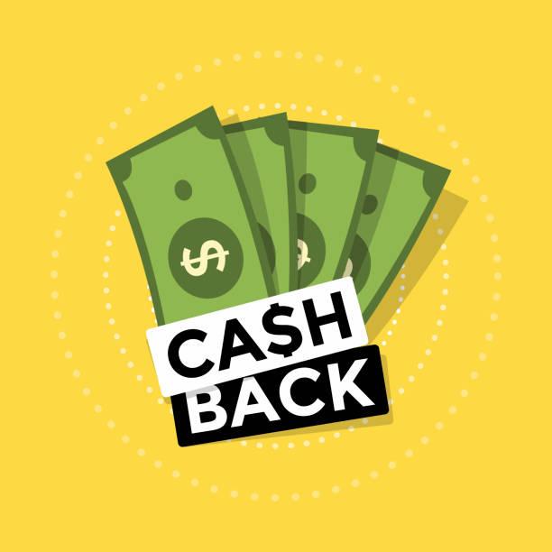 cash-back-symbol auf gelbem hintergrund. geld zurück oder geld erstattung label. - geldmünze stock-grafiken, -clipart, -cartoons und -symbole