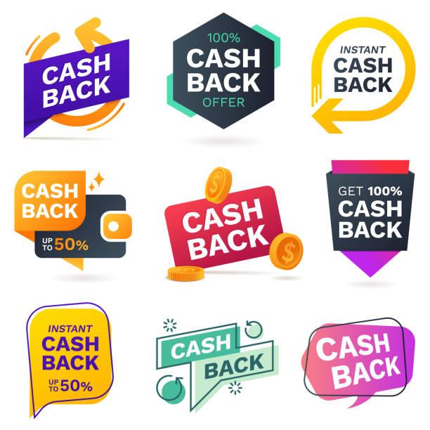 cash back icons set. colorful cashback banner collection. money refund signs. return of money from purchases. promotion badges for your business. vector illustration. - konsumpcjonizm stock illustrations