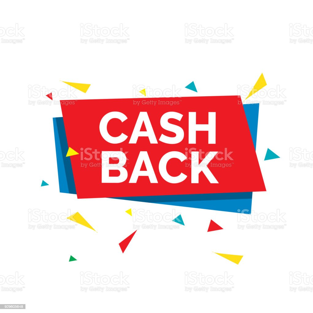 Cash back lettering with abstract shaped red and blue card and...