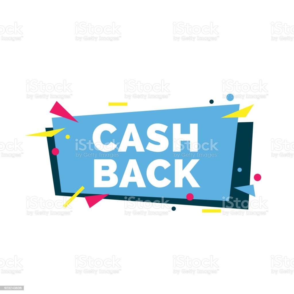 Cash back lettering. Festive shopping inscription with colorful...