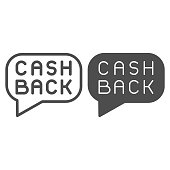 Cash back message line and solid icon. Cashback badge, savings popup buble symbol, outline style pictogram on white background. Money transfer sign for mobile concept or web design. Vector graphics