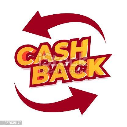 istock Cash back offer banner design. Promotion refund cashback money sale poster. emblem cash back. 1277935172
