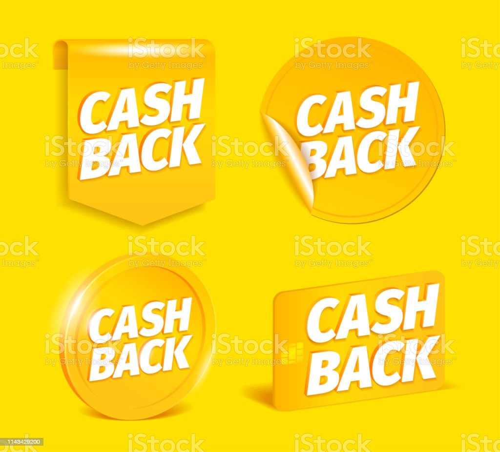 Cash back set. On a yellow background. Coin, credit card. Shining...