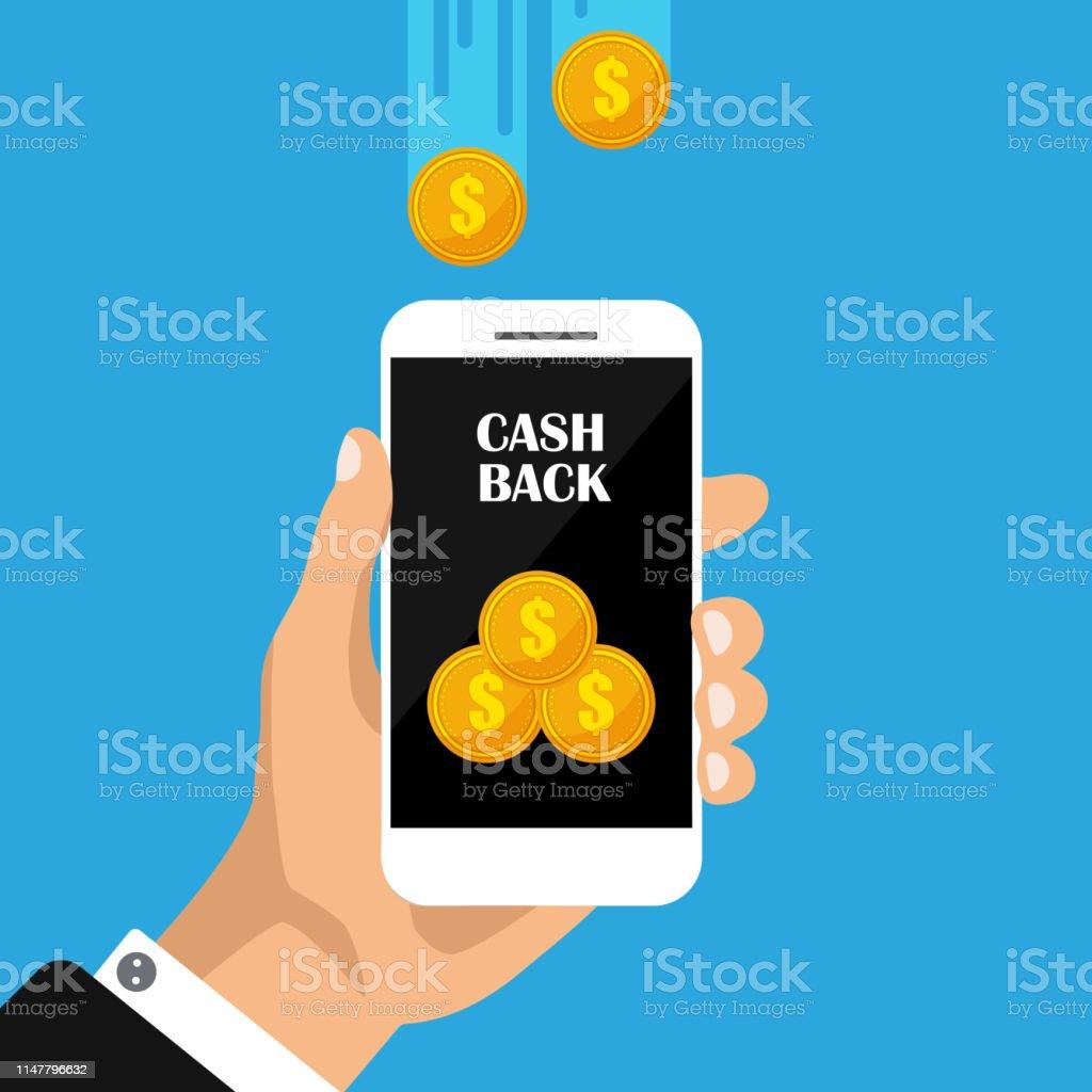 Flat design of cash back sticker, labels, emblem. Gold coins in...