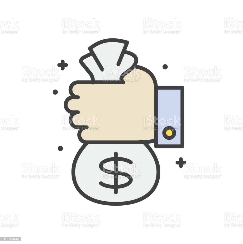 Cash bag line icon on white background for graphic and web design,...