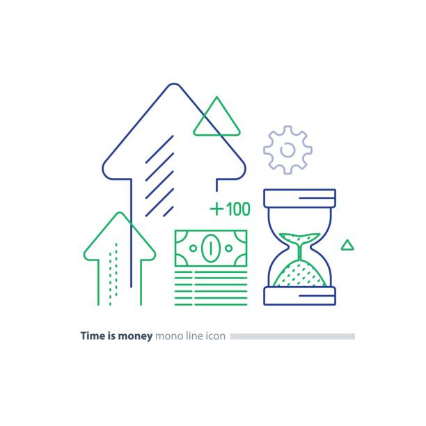 Cash bundle and sand glass, time is money concept, financial investment line icons Time is money concept, financial long term investment plan, budget management, fund rising, asset growth, income increase, cash bills bundle, compound interest, vector mono line icons financial planning stock illustrations