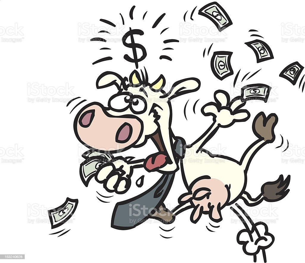 cash cow - business cartoon vector art illustration