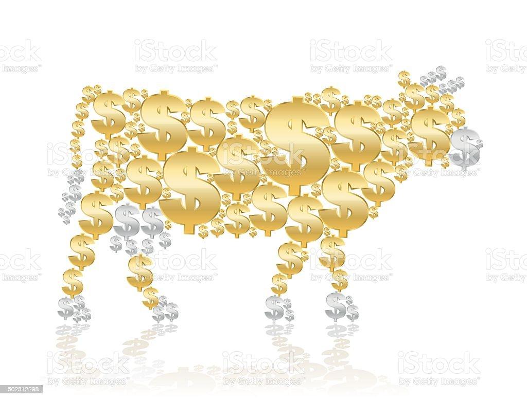 Cash Cow Gold Silver vector art illustration
