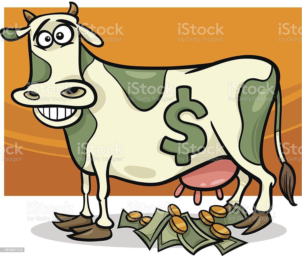 cash cow saying cartoon illustration vector art illustration