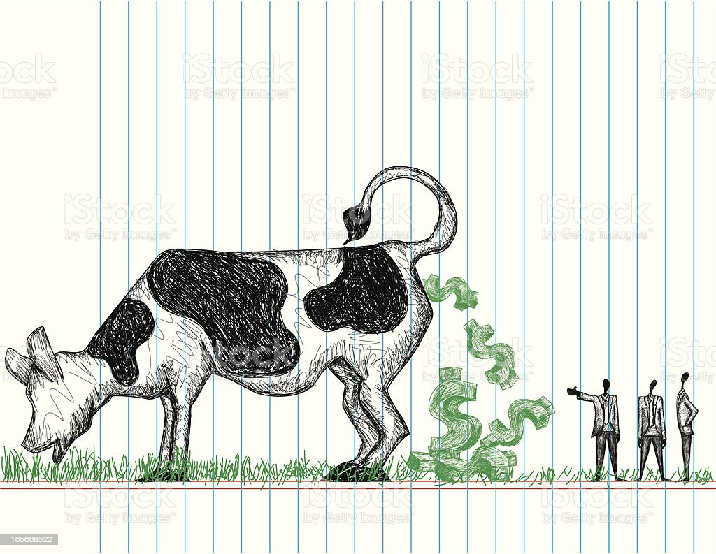 Doodle style, hand drawn cash cow with the owner of the cow showing...
