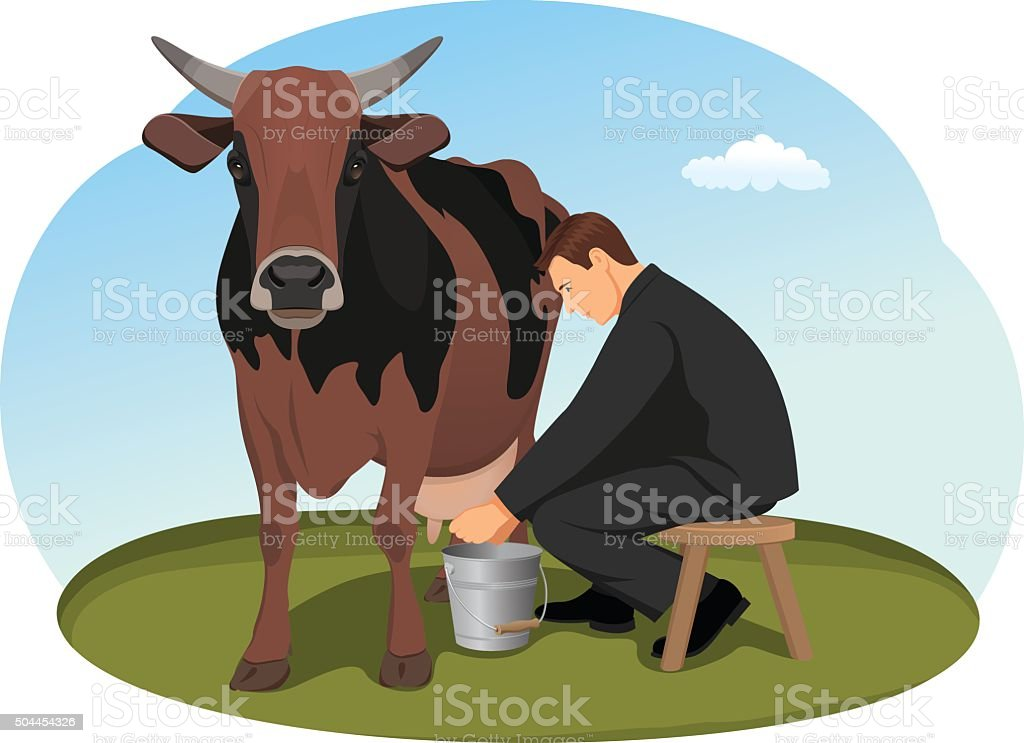Cash cow vector art illustration