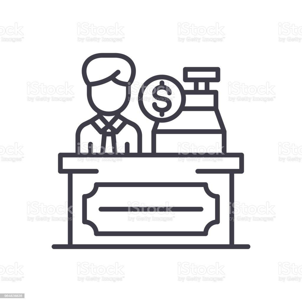 Cash desk black icon concept. Cash desk flat  vector symbol, sign, illustration. royalty-free cash desk black icon concept cash desk flat vector symbol sign illustration stock vector art & more images of basket