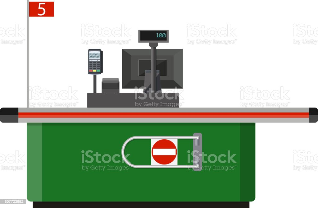 Cash desk with computer terminal in supermarket vector art illustration