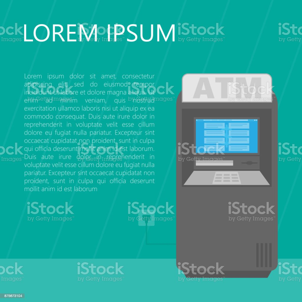 Cash dispense ATM. Vector illustration. vector art illustration