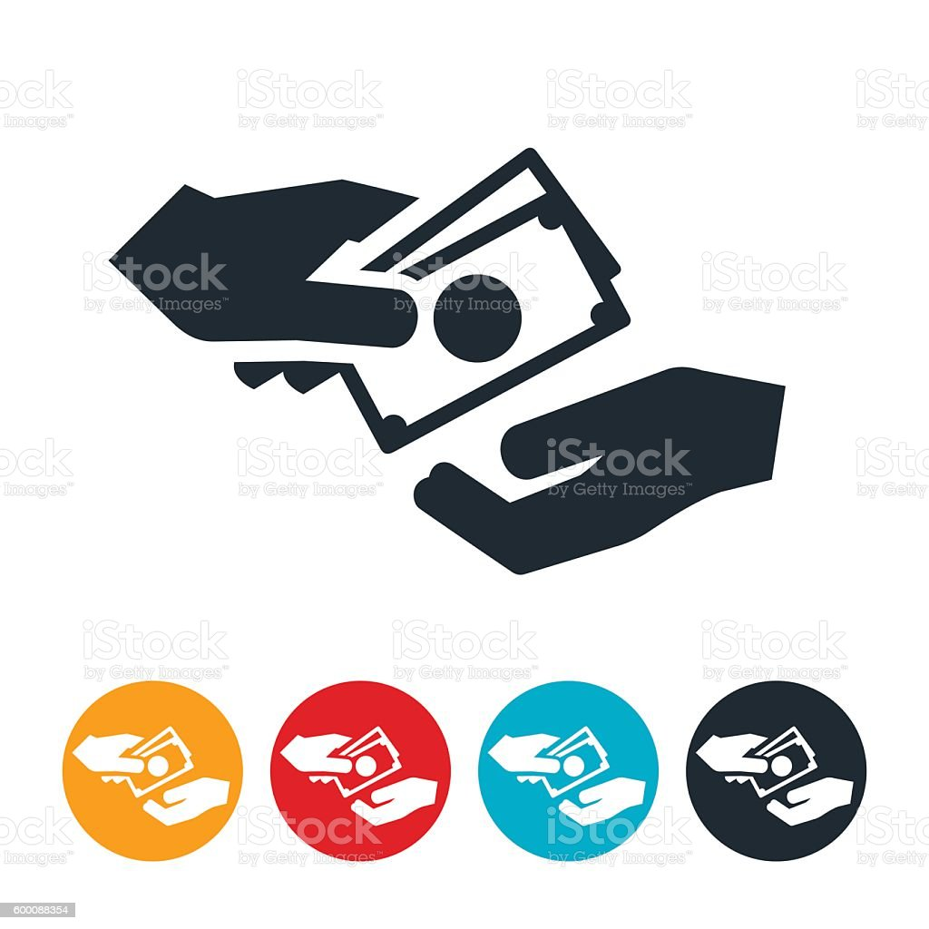 Cash Exchanging Hands Icon vector art illustration