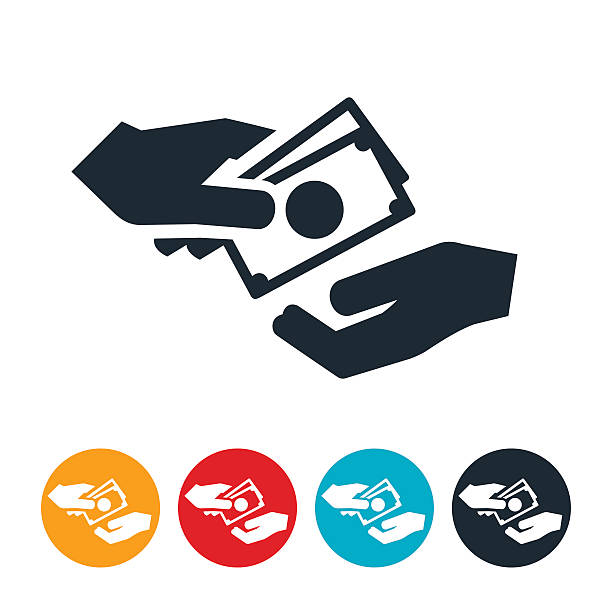 Cash Exchanging Hands Icon An icon of two hands exchanging cash. The icons represents purchasing or buying. passing giving stock illustrations