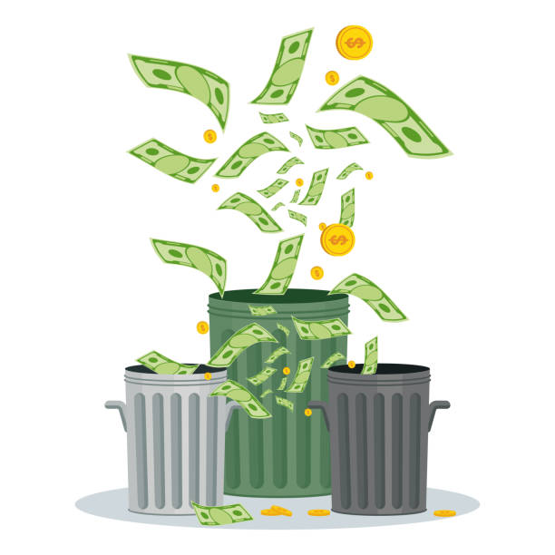 Cash flow. Banknotes fly away into garbage bin vector art illustration