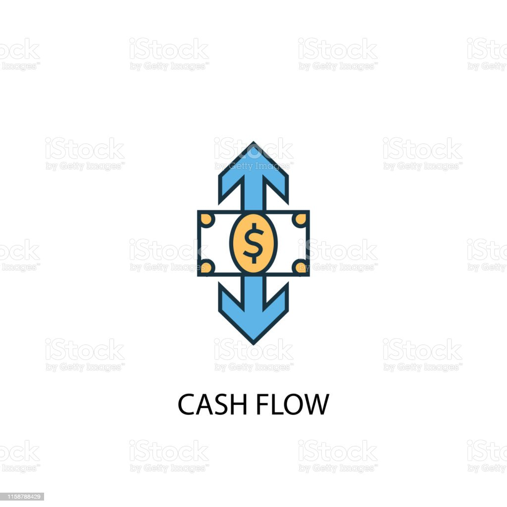 cash flow concept 2 colored line icon. Simple yellow and blue element...
