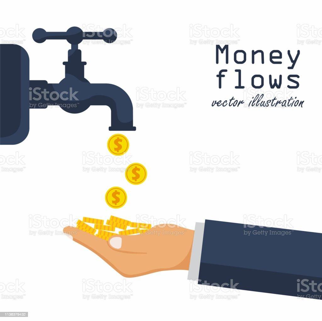 Cash flow concept. Achievement success. Finance foucet. Open a water...