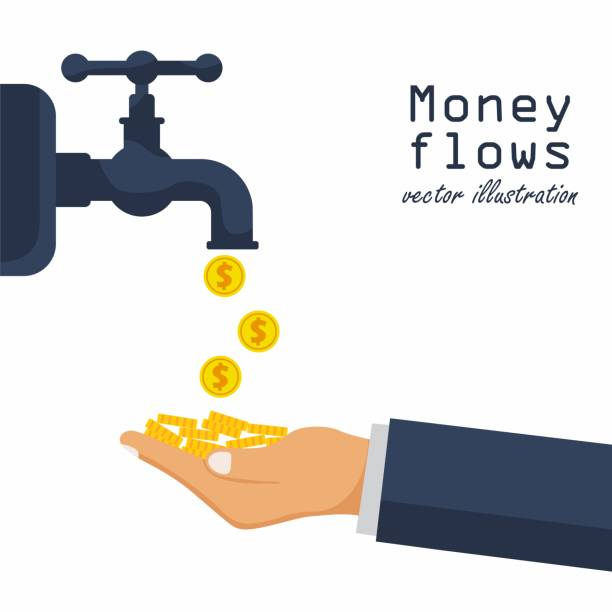 Cash flow concept. Achievement success. Finance foucet. Open a water tap, gold coins fall. Vector illustration in flat design. Cash flow concept. Achievement success. Finance foucet. Open a water tap, gold coins fall. Vector illustration in flat design. water wastage stock illustrations